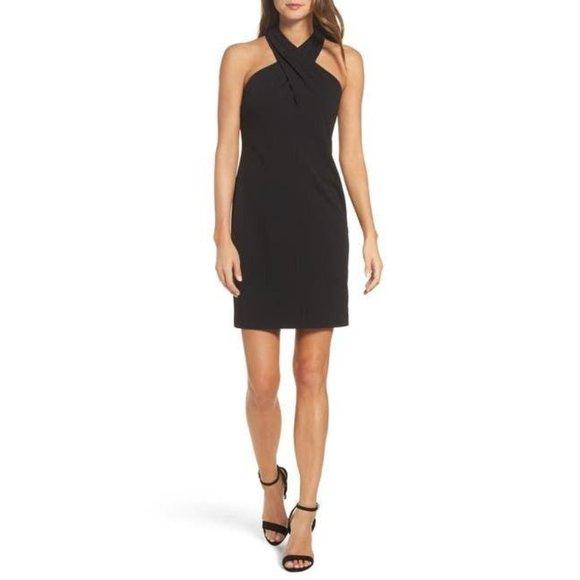 Eliza J Solid Black Halter Twist Sheath Dress 6